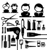 Hair styling silhouette icons set