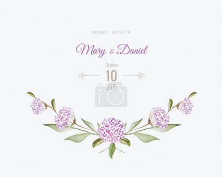 Illustration for Wedding invitation watercolor. Save The Date card with flowers and leaves in gentle tones. Beautiful floral background with text and decorative design elements page - Royalty Free Image