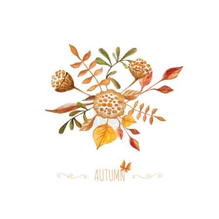 Illustration pour Bouquet d'automne aquarelle avec éléments tourbillonnants décoratifs. Beau fond avec des feuilles et des fleurs dessinées à la main. Peut être utilisé comme carte de voeux ou invitation de mariage . - image libre de droit
