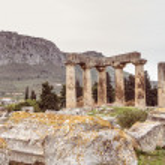 Temple of Apollo in Ancient Corinth, Greece...