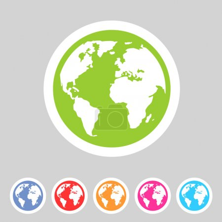 Illustration for Earth globe flat icon, sign, symbol and shadow - Royalty Free Image