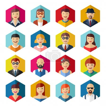 Flat avatar icons faces people symbols signs