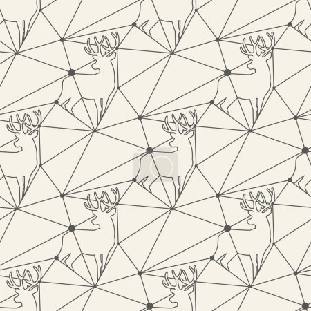 Seamless deer line pattern tile background geometric