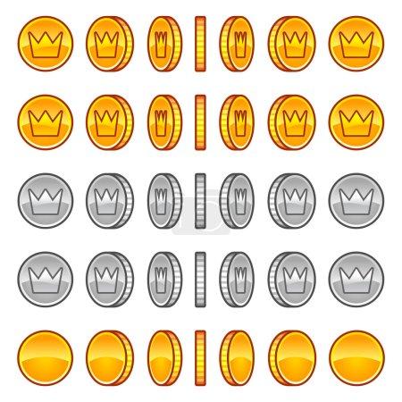 Illustration pour Pièces de jeu or, argent rotation ensemble symbole - image libre de droit