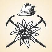 Edelweiss alpine oktoberfest vintage tyrolean style hat feather