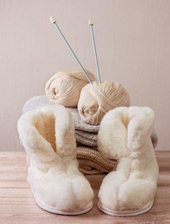 winter sheepskin slippers (Selective focus)