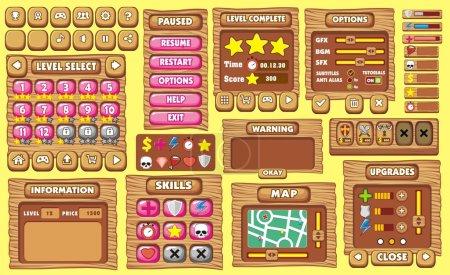 Illustration pour Ensemble complet de l'interface utilisateur graphique (Gui) pour générer des applications et des jeux - image libre de droit