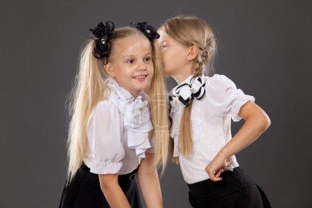 Portrait a couple of schoolgirls sharing secrets