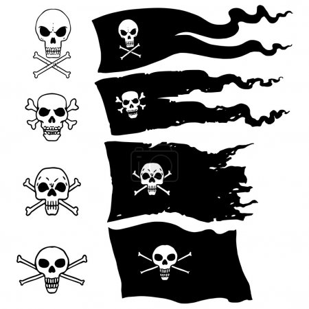 Set of Four Types Pirate Flag