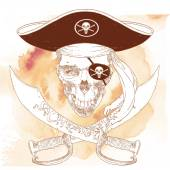 The Pirate Skull Jolly Roger The vector image of piracy skull Piracy flag with skull  ribbon hat eyes patch and crossed pistols or sabers Vector illustration