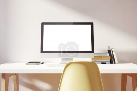 Light simple workspace  mockup