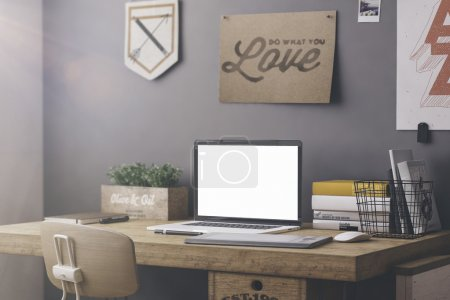 Photo for Stylish workspace with computer and posters on home or studio - Royalty Free Image