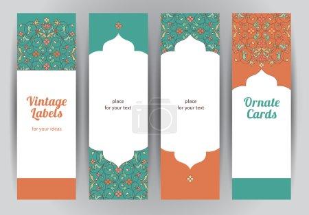 Set of vertical Eastern cards.