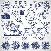 Set of christmas elements winter holidays icons collection It can be used for decorating of invitations cards decoration for bags and clothes Ornament for brochures magazines leaflets