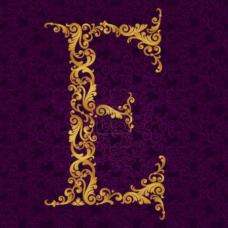 Gold font type letter E