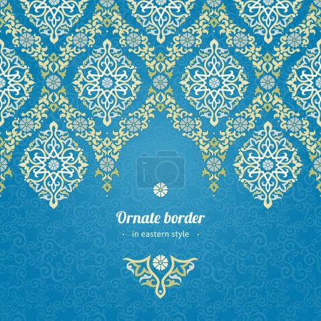 Illustration for Vector seamless border in Eastern style. Ornate element for design and place for text. Ornamental lace pattern for wedding invitations and greeting cards.Traditional light decor on blue background. - Royalty Free Image