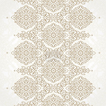 Illustration for Vector seamless border in Eastern style. Ornate element for design on moroccan backdrop. Ornamental lace pattern for wedding invitations and greeting cards. Traditional decor. - Royalty Free Image