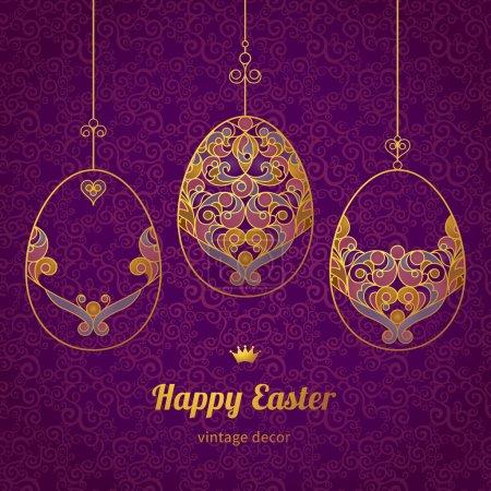 Golden ornamental eggs for your Easter design.