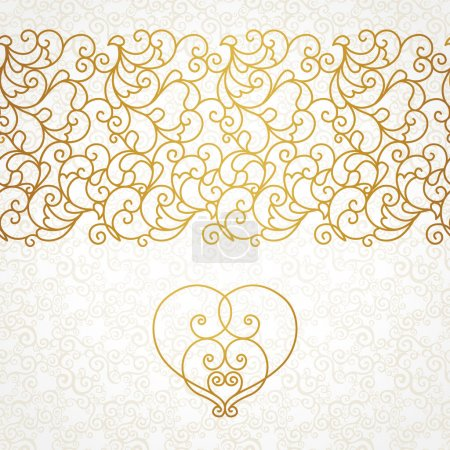 Illustration for Vector ornate seamless border in Eastern style. Line art element for design, place for text. Ornamental vintage frame for wedding invitations and greeting cards. Traditional gold decor. - Royalty Free Image