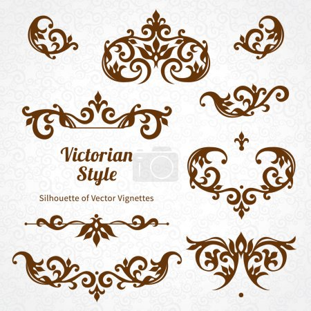 Illustration for Set of ornate borders and vignettes in Victorian style. Gorgeous elements for design - Royalty Free Image