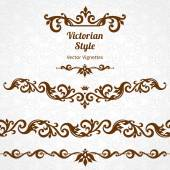 Set of ornate borders and vignettes in Victorian style Gorgeous elements for design