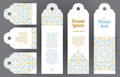 Vector set of ornate labels in oriental style Pastel Eastern floral decor Template vintage frame for card invitation thank your message sticker banner sale element Tags with place for text