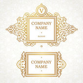 Vector set of logo template in Victorian style Ornate element for design Place for company name and slogan Floral ornament for business card wedding invitations certificate business sign