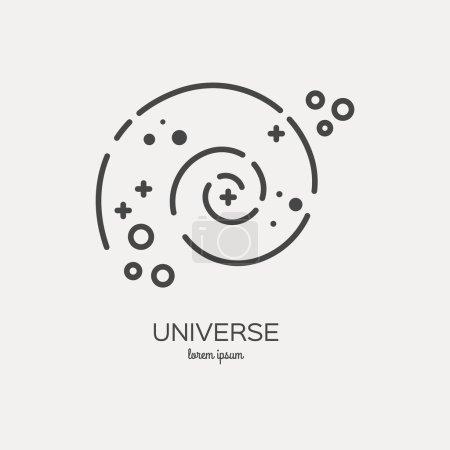 Illustration pour Icône de logo de l'univers faite dans le vecteur stile de ligne à la mode. Série spatiale. Symbole exploration spatiale et aventure . - image libre de droit
