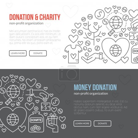 template with charity and donation icons