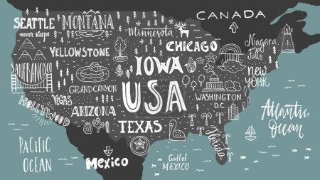 Illustration for USA map - handdrawn illustration with lettering and symbols of tourist attractions. Creative design element for tourist banner, apparel design, road trip event design. - Royalty Free Image