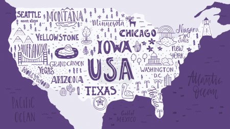 Map of USA with lettering and symbols