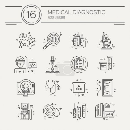 line icons with medical symbols