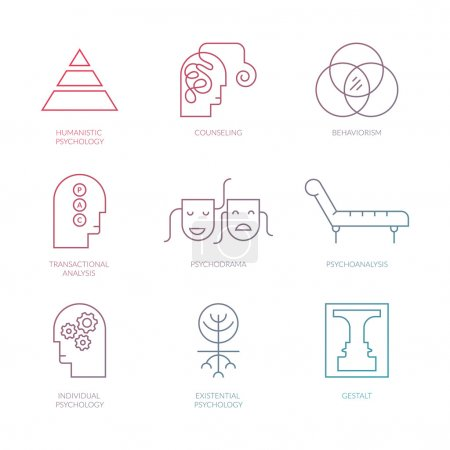 Illustration for Perfect clean vector pictogramms of different psychology theories including psychodrama, transactional analysis, behaviorism, gestalt.Mental health, autism, mental problems symbols - Royalty Free Image
