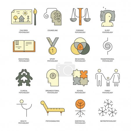 Illustration for Therapist and counseling process symbols. Modern pictogramm collection of brain function and mental health problems for all kinds of design. Psychology schools with names - Royalty Free Image