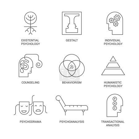 Illustration for Symbols of different psychology theories including psychodrama, behaviorism, gestalt, transactional analysis made in vector. Mental health, autism, mental problems symbols - Royalty Free Image