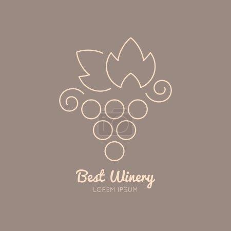 Illustration pour Logo vin avec illustration de raisin - image libre de droit