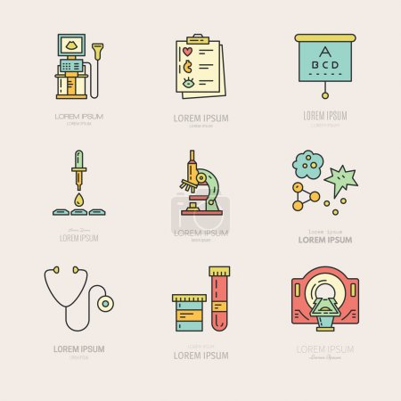 Logos with different medical items