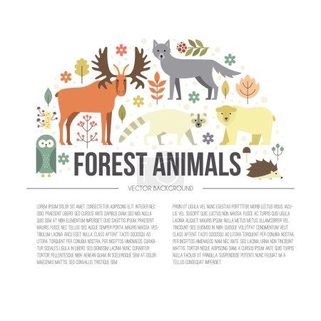 Illustration of forest animals