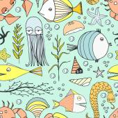 Cute hand drawn seamless pattern with water creatures