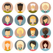 Set of flat people icons Different faces of people for avatar profile page for app or web design made in modern flat style men women characters