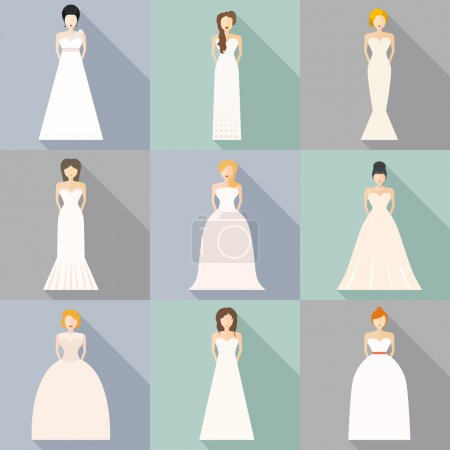 Illustration for Brides in different styles of wedding dresses made in modern flat  style. Choose your perfect wedding dress for your body type. - Royalty Free Image