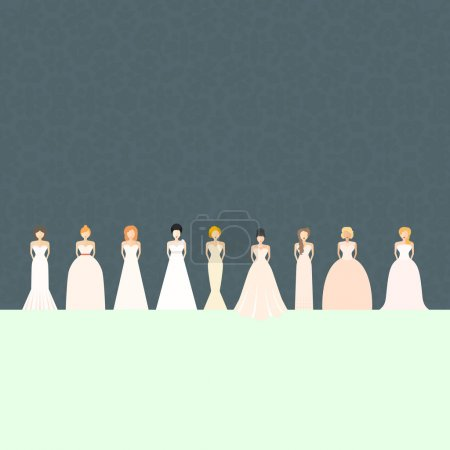 Illustration for Brides in different styles of wedding dresses made in modern flat style. Choose your perfect wedding dress for your body type. Bridal - Royalty Free Image