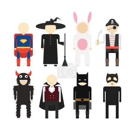 Illustration pour Illustration de costumes d'Halloween populaires, y compris vampire, lapin, super-héros, pirate, squelette, monstre, sorcière. Illustration vectorielle Halloween . - image libre de droit