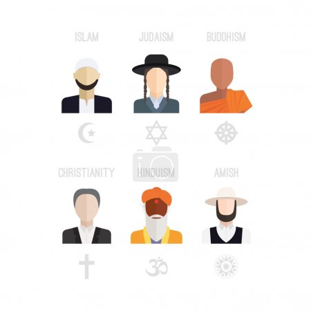 Photo for People of different religion in traditional clothing. Islam, judaism, buddhism, christianity, hinduism, amish. Religion vector symbols and characters. - Royalty Free Image