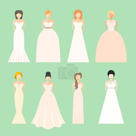 Illustration for Brides in different styles of wedding dresses made in modern flat vector style. Choose your perfect wedding dress for your body type. Bridal vector. - Royalty Free Image
