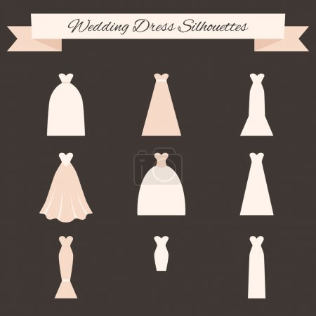 Illustration for Different styles of wedding dresses made in modern flat vector style. Choose your perfect wedding dress for your body type. Bridal vector. - Royalty Free Image