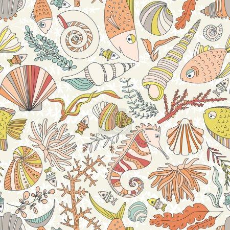 Illustration pour Modèle sans couture vectoriel avec des poissons dessinés à la main, corrals, coquillages, algues, hippocampes et autres créatures sous-marines. Fond marin. Conception de vie marine tropicale . - image libre de droit