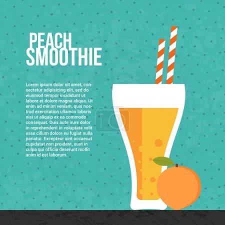Illustration pour Peach smoothie concept vectoriel. Élément de menu pour café ou restaurant avec boisson fraîche énergique faite dans le style plat. Jus frais pour une vie saine. Secousse crue biologique . - image libre de droit