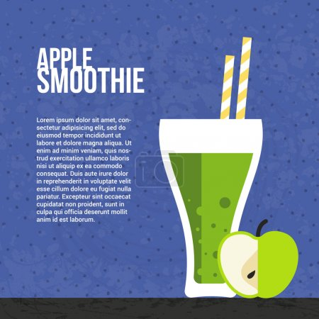 Illustration for Apple smoothie vector concept. Menu element for cafe or restaurant with energetic fresh drink made in flat style. Fresh juice for healthy life. Organic raw shake. - Royalty Free Image