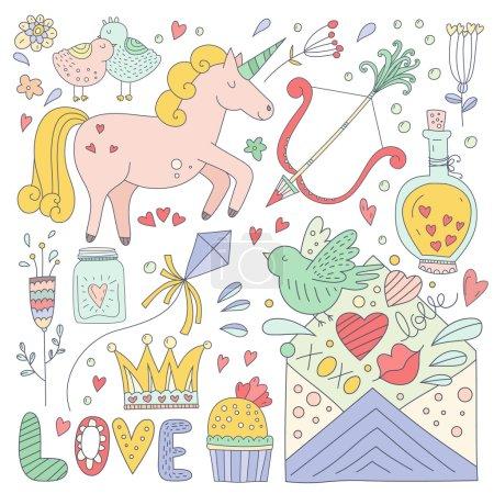 Photo pour Ensemble d'éléments vectoriels romantiques. Doodle dessiné à la main Valentines personnages et illustrations de la fête. Mignon enregistrer la date ou les éléments de conception de carte de mariage - image libre de droit